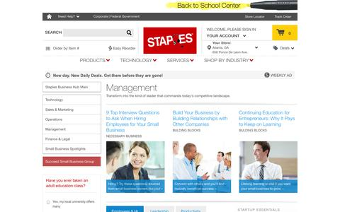 Screenshot of Team Page staples.com - Management | Staples Business Hub | Staples.com® - captured Sept. 17, 2014