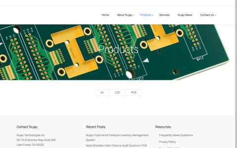 Screenshot of Products Page nujaytech.com - Nujay Technologies | Nujay PCB Products and LCD Products Portfolio - Nujay Tech - captured Oct. 22, 2017