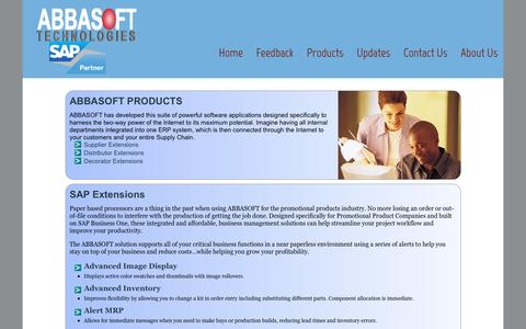 Screenshot of Products Page abbasoft.com - Products - captured Feb. 5, 2016