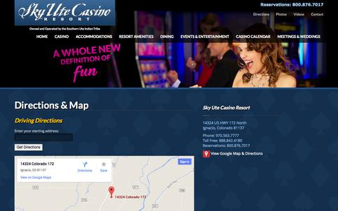 Screenshot of Maps & Directions Page skyutecasino.com - Directions & Map | Sky Ute Casino Resort - captured Oct. 26, 2014