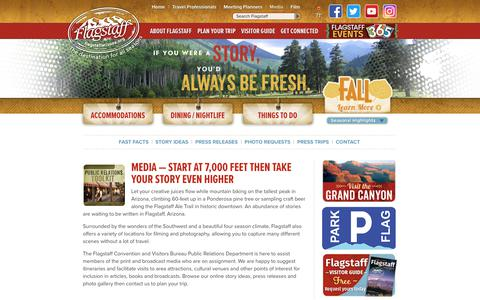 Screenshot of Press Page flagstaffarizona.org - Media - Flagstaff, Arizona CVB - captured Oct. 14, 2017