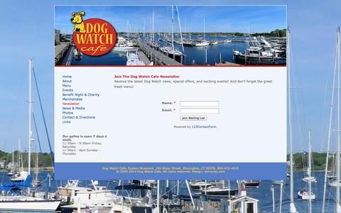 Screenshot of Signup Page dogwatchcafe.com - The Dog Watch Cafe and Restaurant is located in beautiful Stonington Borough, Connecticut, directly overlooking Dodson Boatyard on the water. - captured Sept. 30, 2014