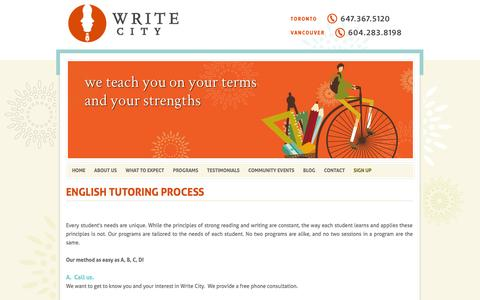 Screenshot of Signup Page writecity.ca - Sign up for English Tutoring Services in Vancouver and Toronto - Write City - captured Oct. 9, 2014