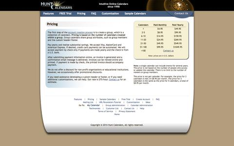 Screenshot of Pricing Page huntcal.com - Calendar Pricing - Hunt Calendars - captured Nov. 4, 2014