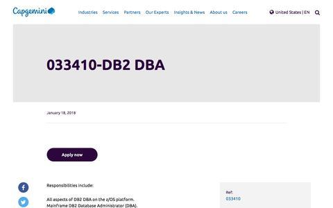 Screenshot of Jobs Page capgemini.com - 033410-DB2 DBA – Capgemini US - captured Jan. 20, 2018