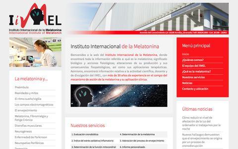 Screenshot of Home Page institutodemelatonina.com - IIMEL - captured Oct. 6, 2014