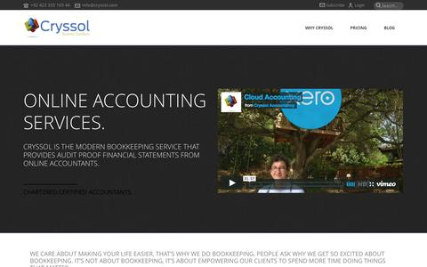 Screenshot of Home Page cryssol.com - Cryssol | Online Bookkeeping Services - captured Sept. 30, 2014