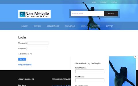 Screenshot of Login Page nanmelville.com - Login – Nan Melville - captured Dec. 20, 2018
