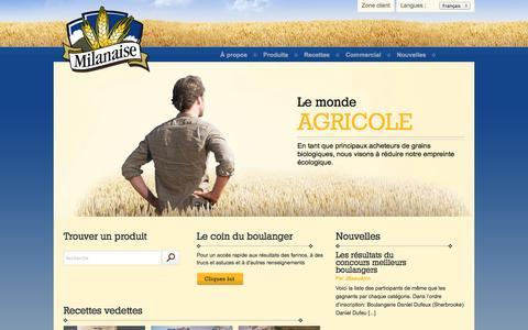 Screenshot of Home Page lamilanaise.com - Farine biologique: Meunerie Milanaise - captured Oct. 6, 2014