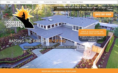 Screenshot of Home Page pioneerroofers.net - Roofing Contractor Portland | Pioneer Roofers - captured Sept. 28, 2018