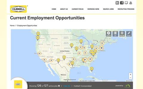 Screenshot of Locations Page hubbell.com - Hubbell Careers - captured Sept. 1, 2017