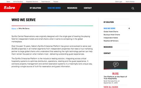 Screenshot of Services Page sabrehospitality.com - Hotel Central Reservation Systems | Sabre Hospitality - Who We Serve - captured Sept. 28, 2016