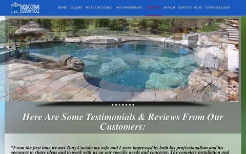 Screenshot of Testimonials Page monogramcustompools.com - Monogram Custom Pools | Customer Testimonials & Reviews - captured Oct. 26, 2014