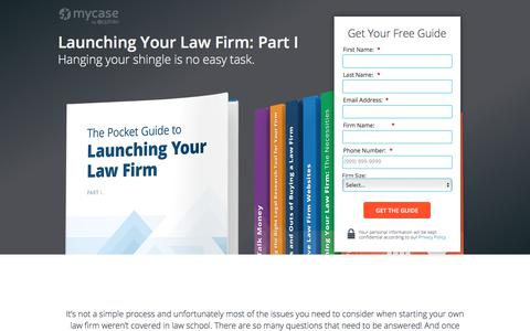 Screenshot of Landing Page mycase.com - MyCase eBook: Launching Your Law Firm: Part I - captured Sept. 11, 2017