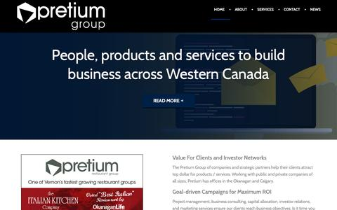 Screenshot of Home Page pretiumgroup.ca - Pretium Communications Group - Business & Technology Consultants - captured Feb. 13, 2019