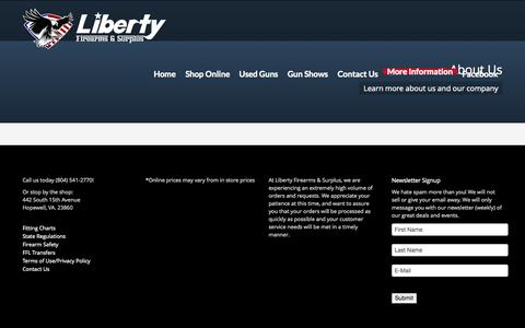 Screenshot of About Page liberty-firearms.com - About Us - Liberty Firearms - captured Oct. 2, 2014