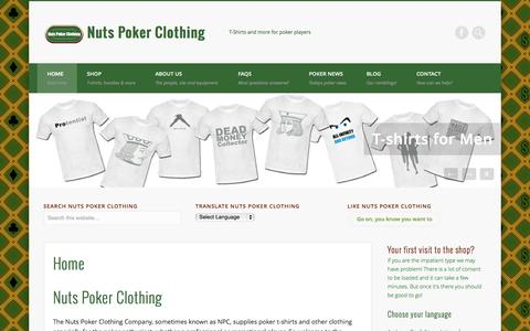 Screenshot of Home Page nutspokerclothing.com - Home - Nuts Poker Clothing - captured Sept. 30, 2014