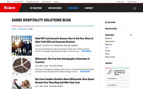 Screenshot of Blog sabrehospitality.com - Internet Marketing Solutions | Sabre Hospitality Solutions - Blog | Tourism Internet Marketing - captured Sept. 28, 2016