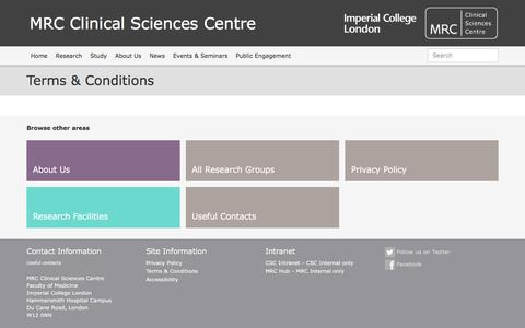 Screenshot of Site Map Page mrc.ac.uk - MRC Clinical Sciences Centre | Terms & Conditions - MRC Clinical Sciences Centre - captured May 20, 2016