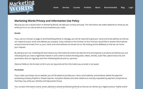 Screenshot of Privacy Page marketingwords.com - Copywriting, Search Engine Copywriting, Ezine Article Writing - captured Sept. 20, 2018