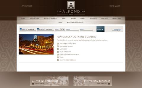 Screenshot of Jobs Page thealfondinn.com - Hospitality Jobs & Hotel Careers in Florida at The Alfond Inn - captured Oct. 26, 2014