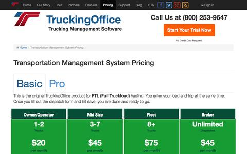 Screenshot of Pricing Page truckingoffice.com - Transportation Management System | Trucking Company Management Software - captured Oct. 9, 2014