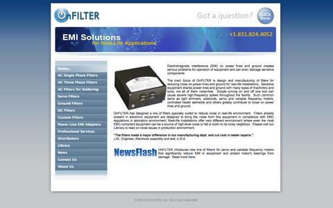Screenshot of Home Page onfilter.com - EMI Filter, noise filter, emi filters, power line filter | OnFilter, Inc. - captured Oct. 7, 2014