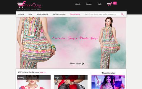 Screenshot of Home Page megafactoryoutlet.com - Online Shopping India - Best Online Shopping Sites for Branded Shoes, Clothing and Accessories - captured Sept. 22, 2014