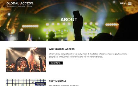 Screenshot of About Page globalaxs.net - Global Access Entertainment Visas Los Angeles 90036 - captured Nov. 7, 2016