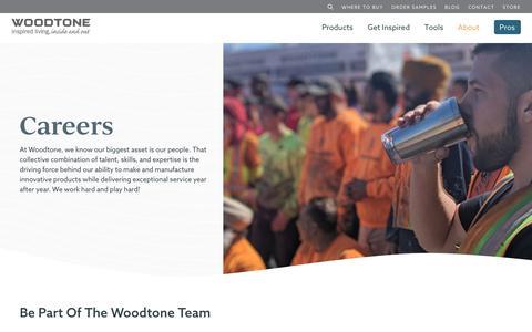 Screenshot of Jobs Page woodtone.com - Career Opportunities in Building Industry | Woodtone - captured July 14, 2019
