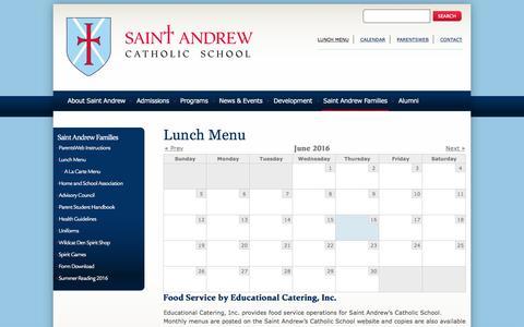 Screenshot of Menu Page standrewsch.org - Lunch Menu | Saint Andrew Catholic School - captured June 16, 2016