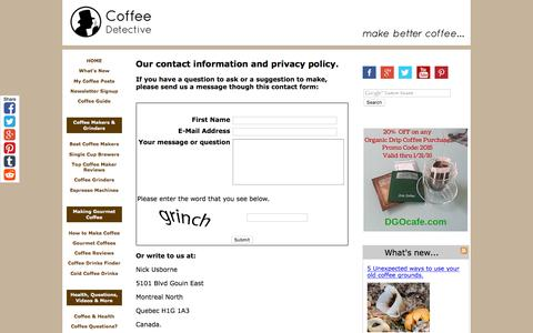 Screenshot of Privacy Page coffeedetective.com - Coffee Detective Contact Information and Privacy Policy - captured Jan. 15, 2016