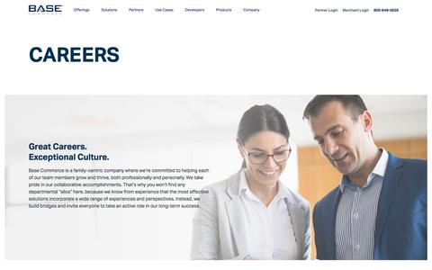 Screenshot of Jobs Page basecommerce.com - Base Commerce - captured April 19, 2018