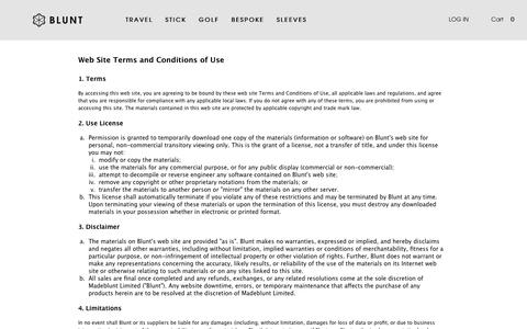 Screenshot of Terms Page bluntusa.com - Terms and Conditions - - captured Feb. 7, 2016