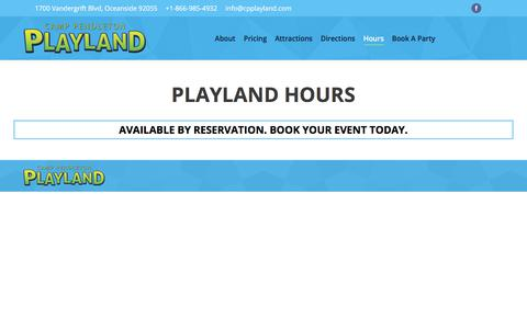 Screenshot of Hours Page cpplayland.com - Hours – Camp Pendleton Play Land - captured Feb. 15, 2018