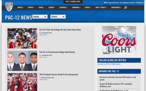 Screenshot of Press Page pac-12.com - Pac-12 News | Pac-12 - captured Jan. 24, 2016