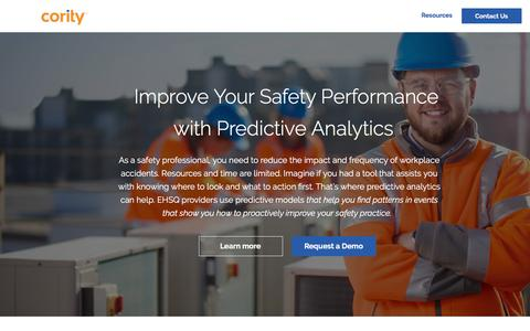 Screenshot of Landing Page cority.com - Predictive Analytics Improves Your Safety Performance - Cority - captured April 1, 2018