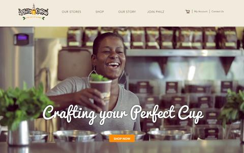 Screenshot of Home Page philzcoffee.com - Philz Coffee - captured Jan. 31, 2016