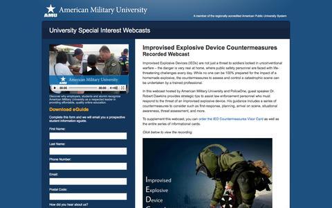 Screenshot of Landing Page apus.edu - IED Countermeasures Webcast | American Military University - captured Dec. 31, 2015