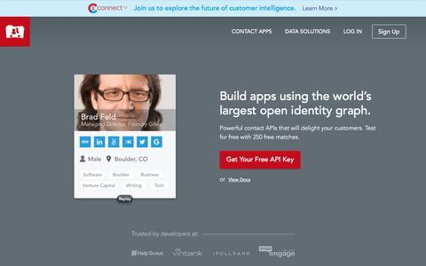 Screenshot of Developers Page fullcontact.com - Contact API, People API, & Address Book API for Contact Management - captured April 7, 2017