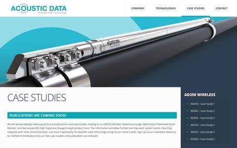 Screenshot of Case Studies Page acousticdata.com - Case Studies & Publications | AD250 Wireless Downhole Gauge for Reservoir Monitoring, DST & Well-Testing - captured May 28, 2017