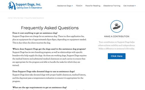 Screenshot of FAQ Page supportdogs.org - Support Dogs Frequently Asked Questions - captured Nov. 10, 2017