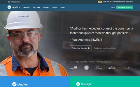 Screenshot of Home Page safetyculture.com - Easy Safety / Quality Inspection Software | SafetyCulture - captured Nov. 27, 2018