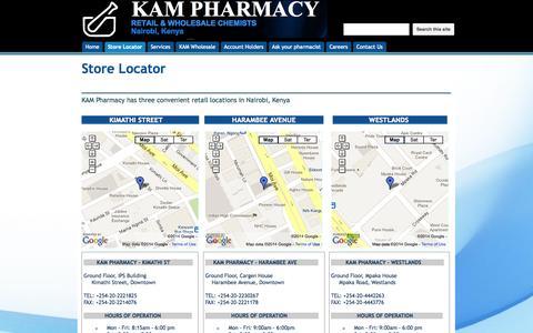 Screenshot of Locations Page kampharmacy.com - Store Locator - Kam Pharmacy - captured Oct. 6, 2014