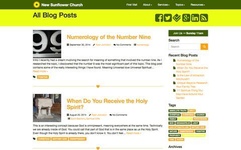 Screenshot of Blog newsunflowerchurch.org - Blog - Contemporary Spiritualists - New Sunflower Church - Indianapolis, Indiana 46227 - captured Oct. 9, 2014