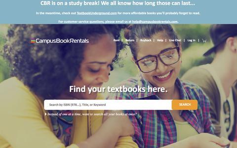 Screenshot of Home Page campusbookrentals.com - Cheap Textbooks - Textbook Rental | Campus Book Rentals - captured June 29, 2017