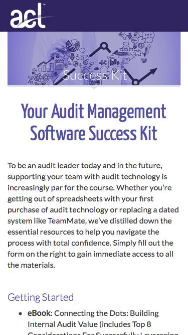 Screenshot of Landing Page  acl.com - Download Your Audit Success Kit