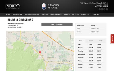 Screenshot of Hours Page maseratiofranchomirage.com - Maserati of Rancho Mirage Hours & Directions - Rancho Mirage Maserati dealer in Rancho Mirage CA - New and Used Maserati dealership Cathedral City Palm Desert Thousand Palms CA - captured March 17, 2016