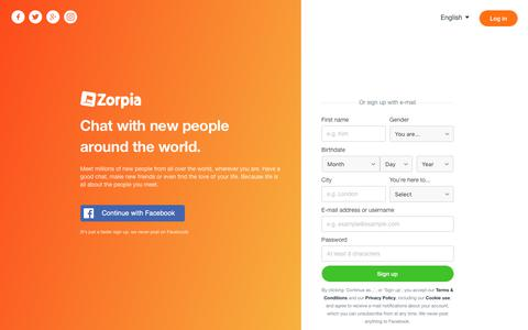 Screenshot of Home Page zorpia.com - Zorpia - Meet New People - captured Sept. 21, 2018