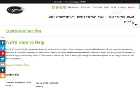 Screenshot of Support Page goodnessme.ca - Customer Service - Goodness Me! - captured Sept. 29, 2018